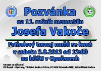 Pozvánka na 11. ročník Memoriálu Josefa Vakoče 2013