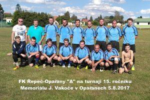 """FK Řepeč-Opařany """"A"""" na turnaji 15. ročníku Memoriálu J. Vakoče v Opařanech 5.8.2017 zvítězil"""