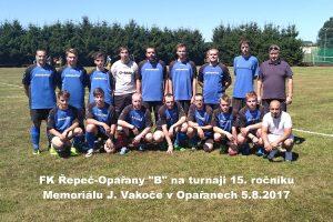 """FK Řepeč-Opařany """"B"""" na turnaji 15. ročníku Memoriálu J. Vakoče v Opařanech 5.8.2017 zvítězil"""