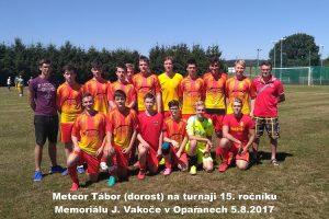Meteor Tábor (dorost) na turnaji 15. ročníku Memoriálu J. Vakoče v Opařanech 5.8.2017 (skončili jako druzí)
