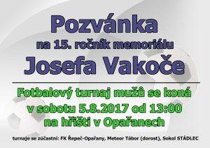 Pozvánka na 15. ročník Memoriálu Josefa Vakoče