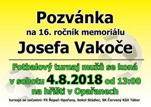 Pozvánka na 16. ročník Memoriálu Josefa Vakoče